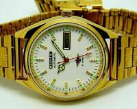citizen automatic men's gold plated white dial day date vintage japan watch run
