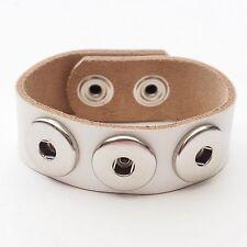 NEU Lederarmband weiß DRUCKKNOPF ARMBAND Echt Leder HERREN Button Bracelet