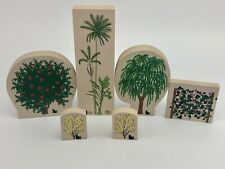 Cats Meow Village Lot of 6 Trees & Bushes - Willow - Apple - Palm - Vine