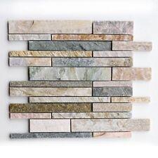 Mosaico de Varilla Amarillo Cuarzo 30 X 30Cm Piedra Natural