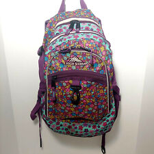 High Sierra Backpack Suspension Strap System Purple Teal Daisy Girl's Book Bag