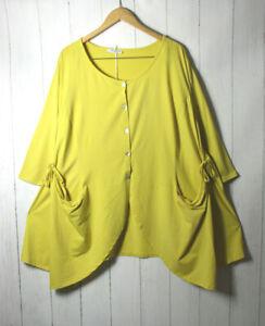 Moonshine Jacke Blazer Shirt  46 48 50  Oversize Gr 1 Lagenlook Gelb Taschen