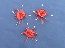 10 BEAUTIFUL RED 2.5CM SATIN ROSEBUDS ON SATIN BOW WITH BEADS ref B53