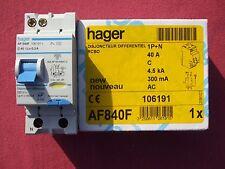 Réf AF840F OU AFC840F DISJONCTEUR DIFFERENTIEL HAGER 1P+N 40A 300mA type AC