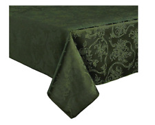 60 x 120 Oblong Dark Green Christmas Ribbons Damask Tablecloth Town & Country