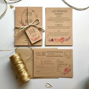 BOHO FLOWER WEDDING INVITATIONS / RUSTIC VINTAGE FLORAL INVITES / WHIMSICAL