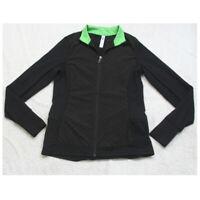 Small Kyodan Black Green Woman's Athletic Jacket Coat Lightweight Nylon Spandex