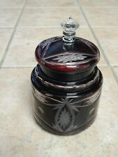 ANTIQUE BOHEMIAN ART GLASS RUBY RED CUT TO CLEAR BISCUIT JAR WITH LID