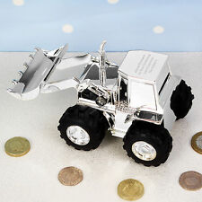 Personalised Engraved Silver Tractor Digger Money Box Birthday Baptism Baby Gift