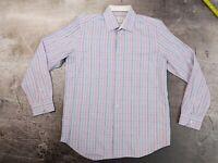 Robert Graham Est 01 Pink Red Blue Teal Striped Luxury Dress Shirt az 42 / 16.5
