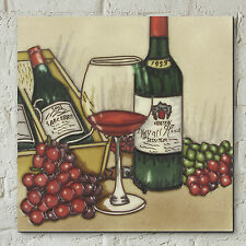 "Vintage Wine Ceramic Picture Tile Kitchen Wall Plaque Grapes Glass 8x8"" 05650"