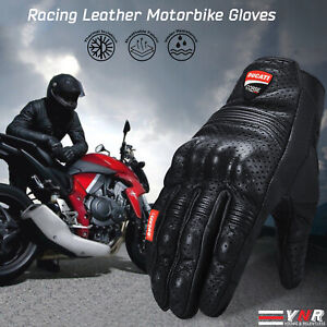 Ducati Corse New Leather Racing Motorbike Glove Pre-Curved Finger Motorcycle Glo
