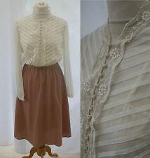 VTG 1960s Long Sleeved Dress Autumn 10 12 Lace Sheer Goodwood Mad Men Secretary