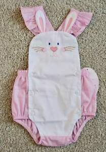 Will'beth NWT Newborn Infant Baby Girl Pink Gingham Bunny Sunsuit 0 3 6 Easter