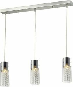 Lampex Torino 3 Light Ceiling Pendant Light, Metal Chrome Shade Glass