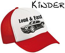 Kinder Trucker Mesh Cap Loud & Fast Mustang Oldschool Kappe jungs Rot Weiß Base