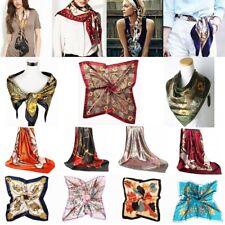 90cm Ladies Floral Bandana Square Head Neck Scarf Wrap Satin Silk  Vintage Shawl