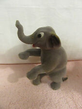Vintage Flocked Elephant Standing on Back Feet with Trunk Up in the Air