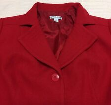 Pendleton Womens Wool Skirt Suit Set Sz 18 2X Cherry Red Notched Collar A-Line