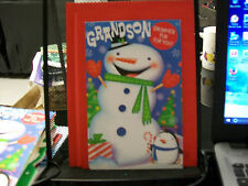 GRANDSON SNOWMEN CHRISTMAS CARD FUN FOR YOU STICKERS EYES NOSE GLOVES HAT SCARF