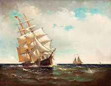 American Sailing Vessel 1916 by Marshall Johnson Jr A2+ High Quality Art Print