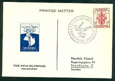 Australia Olympische Spiele Olympic Games 1956 Oly. postcard with posterstamp