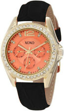 XOXO Women's XO3361 Rhinestones Accent Orange Dial Black Leather Strap Watch