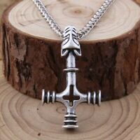 Wolf Cross Pendant Viking Necklace Men Gift With Stainless Steel Chain 1 PC