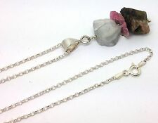 Natural Watermelon Tourmaline & Aquamarine Solid Sterling Silver Long Necklace