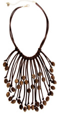 """NWT Erica Lyons Boho """"EL"""" Necklace, Brown Beads On Brown Faux Leather Fringe"""