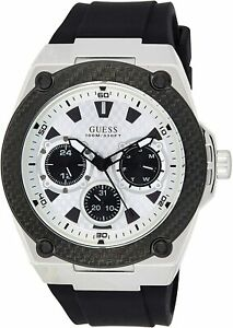 Guess Men's W1049G3 Legacy White Dial With Black Rubber Strap