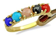 Women's Navajo Natural Mined Gemstone Ring in 14k Solid Yellow Gold