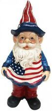 12 in. Americana Garden Gnome Bird Feeder American Flag Statue Figure Patriotic