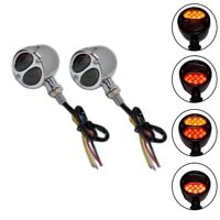 Chrome Steel Triple Action Motorcycle Motorbike LED Indicators STOP Tail Light