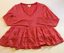 Anthropologie Deletta Coral Pink Tiered Long Sleeve Top Sz XS (g7)