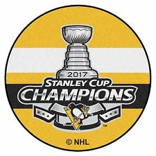 """Pittsburgh Penguins 2017 Stanley Cup Champions 27"""" Hockey Puck Shaped Area Rug"""