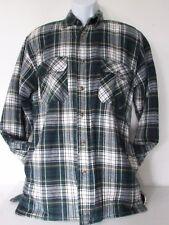 VTG GREATLAND Mens Green Flannel Plaid Shirt Long Sleeve Quilt Lined Jacket S