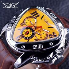 Unique Jaragar Sport Racing Triangle Leather Strap Men Automatic Watch Yellow