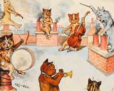 Louis Wain Cat Orchestra Music Painting Albert Hoffman Real Canvas Art Print