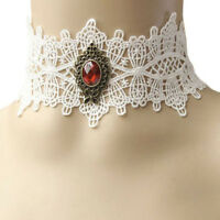 Collier ras de cou dentelle blanche strass rouge bronze mariage victorien mariée
