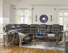 SHERWOOD Modern Sectional Living Room Couch Set GRAY Faux Leather Reclining Sofa