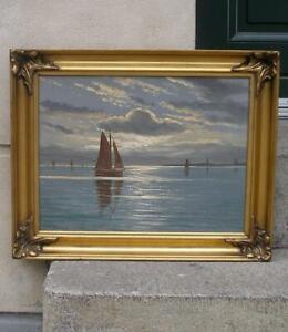 Oluf Jensen (1871)  Evening seascape. Boats at sea. Ca. 1920s. Fine salon oil