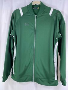 Under Armour Loose Mens Green White Long Sleeve Full Zip Track Jacket L Tall