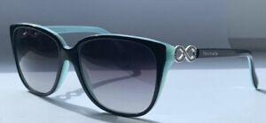 Tiffany & Co. Damen Sonnenbrille schwarz Türkis Strasssteine Neu ohne Etui