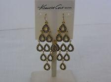 Kenneth Cole Gold Tone Blue-Gray Crystal Chandelier Earrings