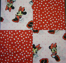 "Minnie Mouse 5"" Quilt Squares Cotton Fabric Quilting 32"