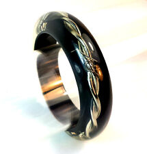 BLACK WITH SILVER WIRE EGYPTIAN STYLE BANGLE BRACELET BRAND NEW FAST DELIVERY