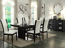Modern Brown Rectangular Table & White Chairs - CONWAY 7 pieces Dining Room Set