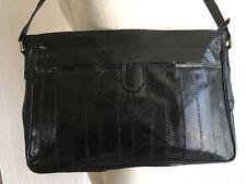 VINTAGE 80's BLACK EEL Skin Shoulder Bag PURSE Suede Lined ADJUSTABLE Strap