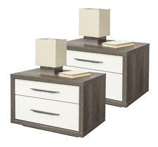 Comodini coppia eleganti 2 cassetti rovere e laccato crema CT5143 L60h41.40p45